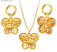 Butterfly Hollow Out Jewelry Women Pendants Necklaces Earrings Set 18K Gold Plated India Jewelry Sets S20134