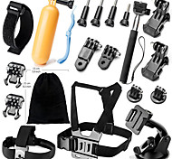 Gopro Accessories 20 in 1 Set Helmet Chest Belt Mount Strap Monopod For action camera Gopro Hero 4 3+ xiaomi yi
