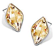 Luxury Stud Earrings for Women Vintage Crystal Rhombus Stud Earrings Fashion Jewelry Accessories Silver Plated