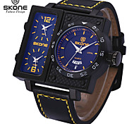 SKONE® Men's Multi-function Sport Watches Fashion PU Band Quartz Wrist Watches with Complete Calendar Function Jewelry