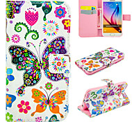 Colorful Butterfly Pattern PU Leather Wallet Case For Samsung Galaxy S7/S7 edge/S6edge+/S6/s6edge/S5/S4/S3