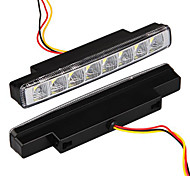 2 White 8 Led Universal Drl Car Truck Fog Aux Day Running Fog Light