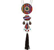 Bohemian Style Indian Jewelry Colorful Cotton Beads Round Sector Geometric Long Tassel Pendant Necklace