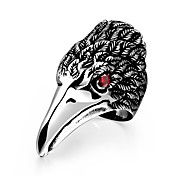Generous Individual Men's Red Cubic Zirconia Head of Eagle Stainless Steel Ring(Black)(1Pc)