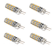 6pcs Dimmable G4 1.5W 24x3014SMD 120LM 3000K/6000K Warm White/Cool White Light LED Corn Bulb(DC12V)