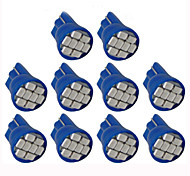 Lorcoo 10PCS LED Car Lights Bulb T10 3528 4-SMD 194 168(Blue)