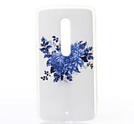 patrón de crisantemo azul TPU caso suave para el juego motox Motorola