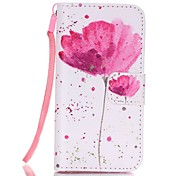 Lotus Pattern Magnetic Leather Stand Protective Case with Lanyard for iPhone SE / 5 / 5S
