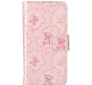 Bear Flower Pattern Embossed PU Leather Case for iPod Touch5