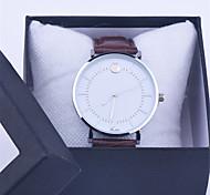 estilo de moda unissex casuais Genebra damas relógio de prata do falso relógio de pulso de couro casais de quartzo analógicos '