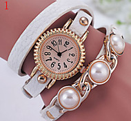 montre perle pu montre à quartz ronde dames