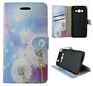 For Samsung Galaxy Case Card Holder / Wallet / with Stand / Flip Case Full Body Case Dandelion PU Leather SamsungTrend Duos / J5 / J1 /