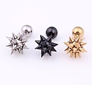 Punk Sharp Thorns Ball Pin Titanium Steel Screwback Earrings