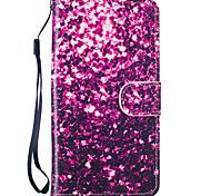 lila Blüten-Muster PU-Leder Ganzkörper-Fall mit Standplatz für Samsung-Galaxie J5 2016