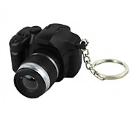 Exquisite Simulation SLR Camera White Light Mini LED Flashlight Keychain Black Silver 2 x LR44
