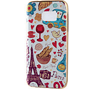 Paris Cartoon Mirror Surface Relief Frame TPU for Samsung S7/S9 Edge