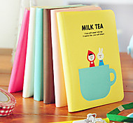 4PCS Lovely Sweet Milk Tea Time Portable Glue Set Notepad Cartoon Jotter(Style random)