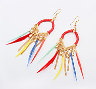 Women's New European Style Fashion Chain Droplets Tassel Earrings