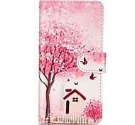 Pink Scenery Magnetic Flip Wallet PU Leather Phone Case for Huawei P9