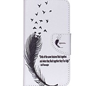 For Wiko Case Card Holder / with Stand / Flip / Pattern Case Full Body Case Feathers Hard PU Leather Wiko