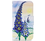 Purple Flower PU leather with Stand Case for Samsung S6 Edge