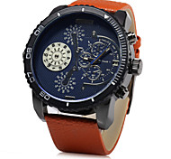 Men's Military Time Display Leather Band Quartz Wristwatch