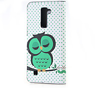 Dozing Owl Magnetic PU Leather wallet Flip Stand Case cover for LG K7 LG Tribute 5