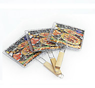 Fish BBQ Grill Barbecue Basket Meat Handle Tool Food Steel Roast