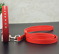 Cat / Dog Collar Rhinestone Red / Black / Blue / Pink PU Leather