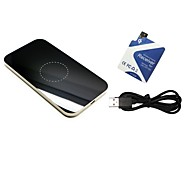 Qi Standard Wireless Charging Pad Silver-Black Design X90 with Receiver Tag for Samsung Galaxy S5