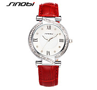SINOBI Designer Womens Watches For Top Luxury Brand Ladies Leather Wrist Quartz-watch Diamond Quality Females Clock Cool Watches Unique Watches