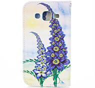Purple Flower PU leather with Stand Case for Samsung G360