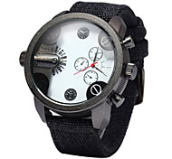 Men's Military Fashion Double Time Design Fabric Band Quartz Watch Cool Watch Unique Watch