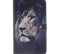 la pleine affaire du corps motif de lion en cuir PU avec support et fente pour carte samsung galaxy tab e 8.0 T377 T375