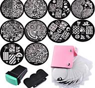 10 platos de las uñas 1 Stamper + 1 + raspador bolsa de almacenamiento de arte de uñas sello de imagen estampa la plantilla platea
