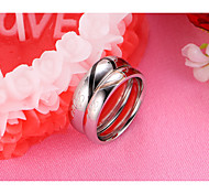LOVE Heart-shaped Puzzle Titanium Steel Couples Ring