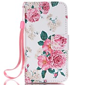 Magnetic Leather Stand Protective Case with Lanyard for iPhone SE / 5 / 5S - Elegant Pink Roses Pattern