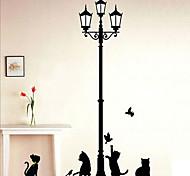 schwarze Katze Wandaufkleber