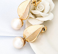 18K Gold Leaf Pearl Security Quality Stud Earrings Jewelry for Wedding Party