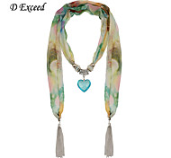 D Exceed Ethnic Natural Stone Floral Chiffon Long Winter Scarf Necklaces For Women Fashion Tassels Jewelry Scarves