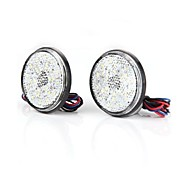 2 X Carchet Car White Round Brake Stop Tail Rear Light Lamp Bulb High Power