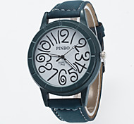 Casual Watch Men Fashion Quartz  Analog Wrist Watches For Men Big Number Printed Dial With Pu Leather Relogio Masculino