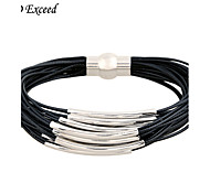 D Exceed Handmade Magnetic Closure Gold Tube Multi Layer Rope Bib Statement Bracelet For Woman's Gifts
