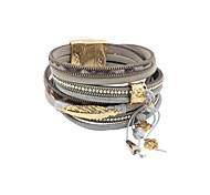 leather Charm BraceletsFashion Trendy 4 Rows Chain/Leaf/Beads/Crystal Set Genuine Leather Wrap Bracelet