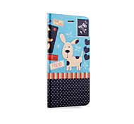 PU Leather Puppy Painted Mobile Phone Flip Case & Holder For iPhone 6/6s 4.7""