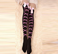 Black and Pink Cross Bones Velvet Punk Lolita Over Knee Socks