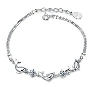 Women's Bracelet Sterling Silver Plated  Sample AAA Zircon Dolphin Chain Bracelet Wedding for BrideImitation Diamond Birthstone