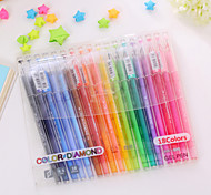 18PCS Fresh Tail Diamond Lovely Diamond Color Pen Neutral Pen 18 Color Set(Random color)