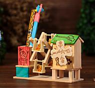 molino de viento de la pluma contenedor de caja de música de madera / azul / verde rosa