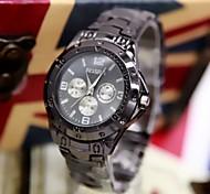 Men's Fashion Watch Black Fashion Three Six-Pin Steel Quartz Watch Cool Watch Unique Watch